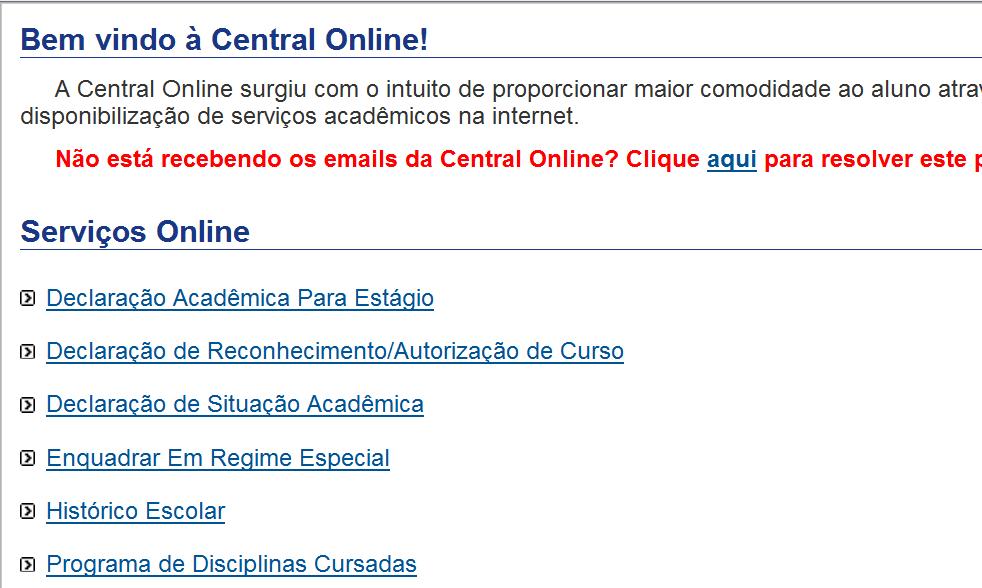 Novo sistema para solicitação de Histórico e Declaração de Situação Acadêmica